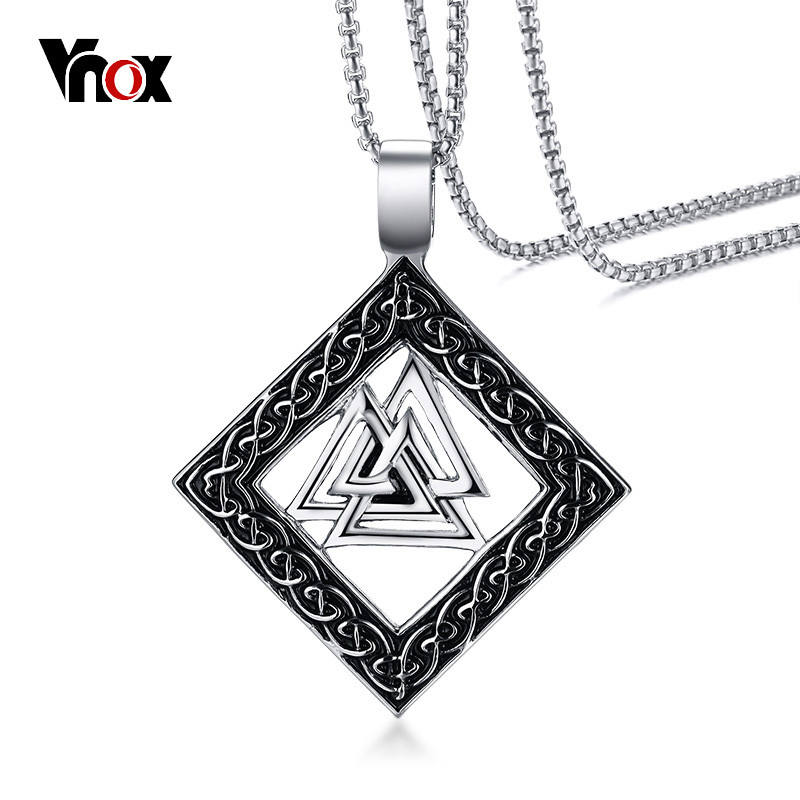 VNOX Men Necklace Slavic Valknut Pagan Amulet Pendant Scandinavian Odin 's Symbol of Norse Viking Warrior Male Jewelry Gift
