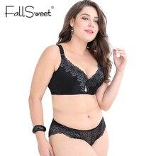 FallSweet – ensemble soutien-gorge et culotte en dentelle pour femmes, Push Up, bonnet D E, 2xl, 3xl, 4xl