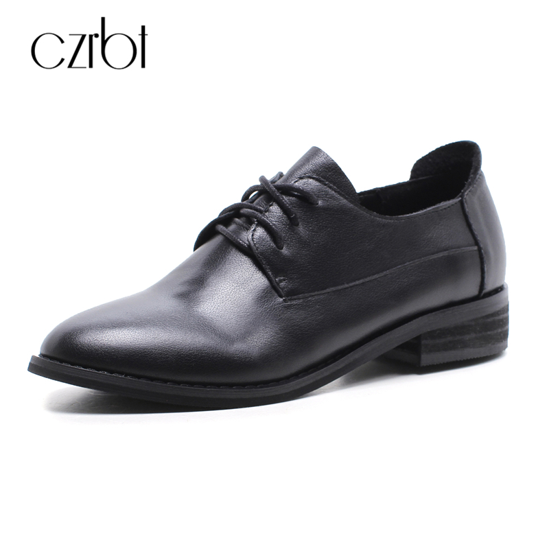 CZRBT Women Shoes Fashion Casual Leather Shoes Spring Autumn Cow Leather Lace-Up Oxfords Shoes British Style Women Flat Shoes genuine leather men shoes spring casual shoes 2016 autumn leather shoes breathable flat shoe lace up outdoor oxfords wholesale
