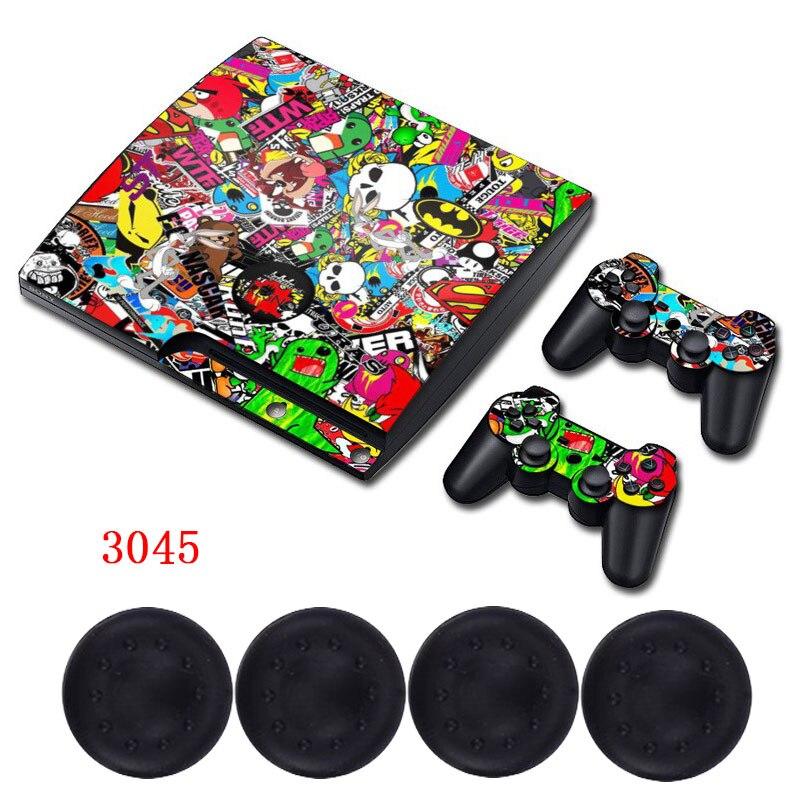 Cartoon <font><b>Puzzle</b></font> Skin PS3 Slim Protective Matte Reusable Vinyl Decal Sticker +4x Caps for PlayStation 3 slim Console