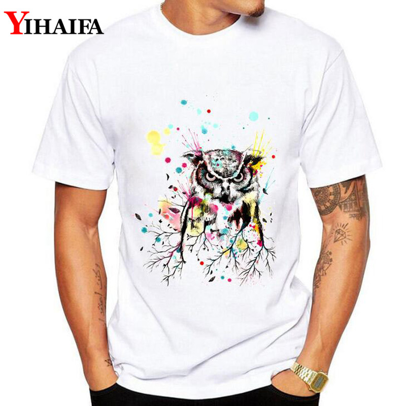 T Shirt Men 3D Print Painted Owl Summer Short Sleeve Stylish Animal T Shirts White Tee Shirts Graphic Tops in T Shirts from Men 39 s Clothing