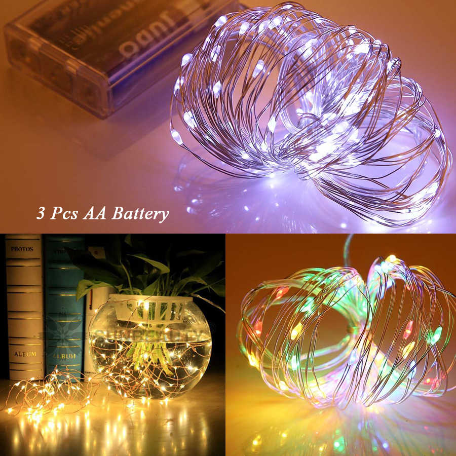 Holiday fairy lights garland 3m 5m 10m 12m light LED string decoration 3pcs AA christmas outdoor festoon slingers curtain tinsel
