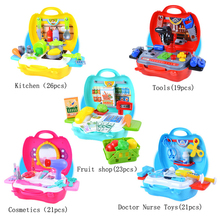 Children Play House Simulation Kitchen Cooking Suits Medicine Cabinet Makeup Tool Kit Box Suitcase Doctor Nurse Educational Toys
