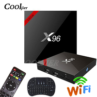 COOLJIER X96 inteligente caixa de tv Android 7.1 WI FI caixa de tv Quad core s905w 1GB 8GB 16 2GB de ram GB ROM X96W 4K Media Player set top box|Conversor de TV|   -