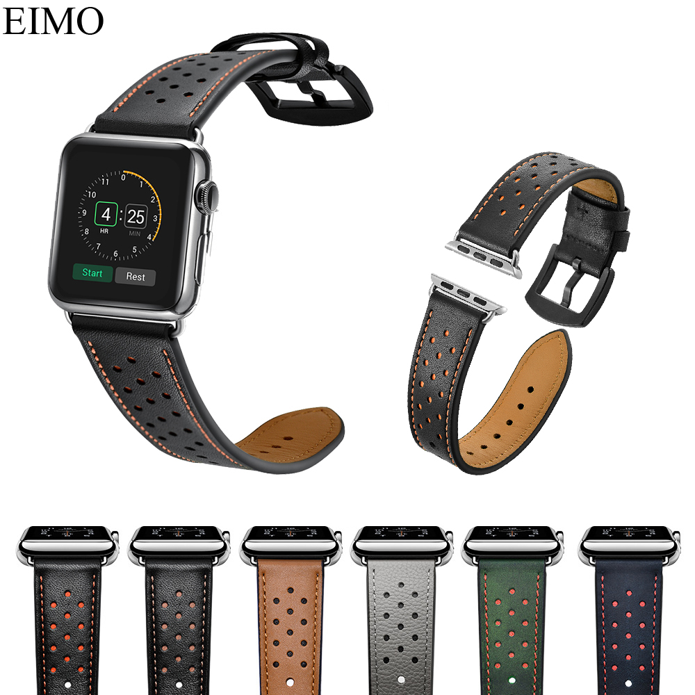 EIMO Genuine Leather Strap For Apple Watch Band 44MM 40MM 42mm 38mm Iwatch Series 4 3 2 1 Bracelet Wrist Belt Watchband цена