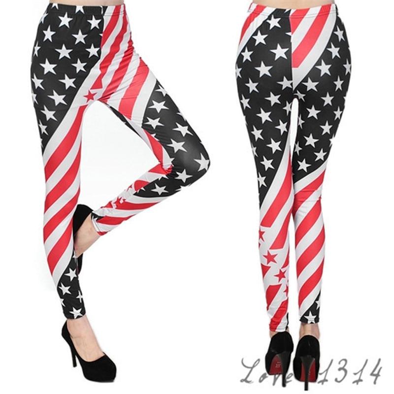 Hot High Elastic Design Striped Stars Leggings USA Flag Patterned Print Fashion Leggins Pants For Women Leggings Sale 5887
