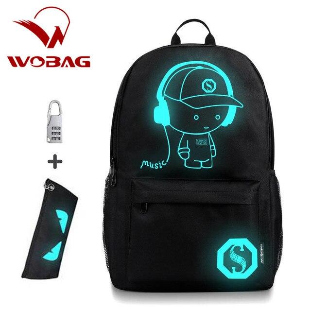 67497f92b8f0 Анти-Вор сумки Ночная Детская школьная рюкзак Wich пенал аниме световой школьные  сумки для мальчика