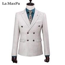 La ベスト)新ブランド男性スーツ春秋白いウェディングスーツ用男カジュアルスリムフィットウエディングドレススーツ maxpa (ジャケット