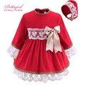 Pettigirl último red toddler girl dress con sombreros hechos a mano del algodón del cordón del arco del otoño ropa infantil girls bontique g-dmgd908-889
