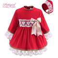 Pettigirl lastest red criança girl dress com chapéus handmade arco laço de algodão infantil outono meninas roupas bontique g-dmgd908-889