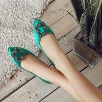 Stiletto Rhinestone Satin Fabric Rubric Cheongsam Woman Thin Heel Shoes Tang Suit Wedding Single Shoes Green