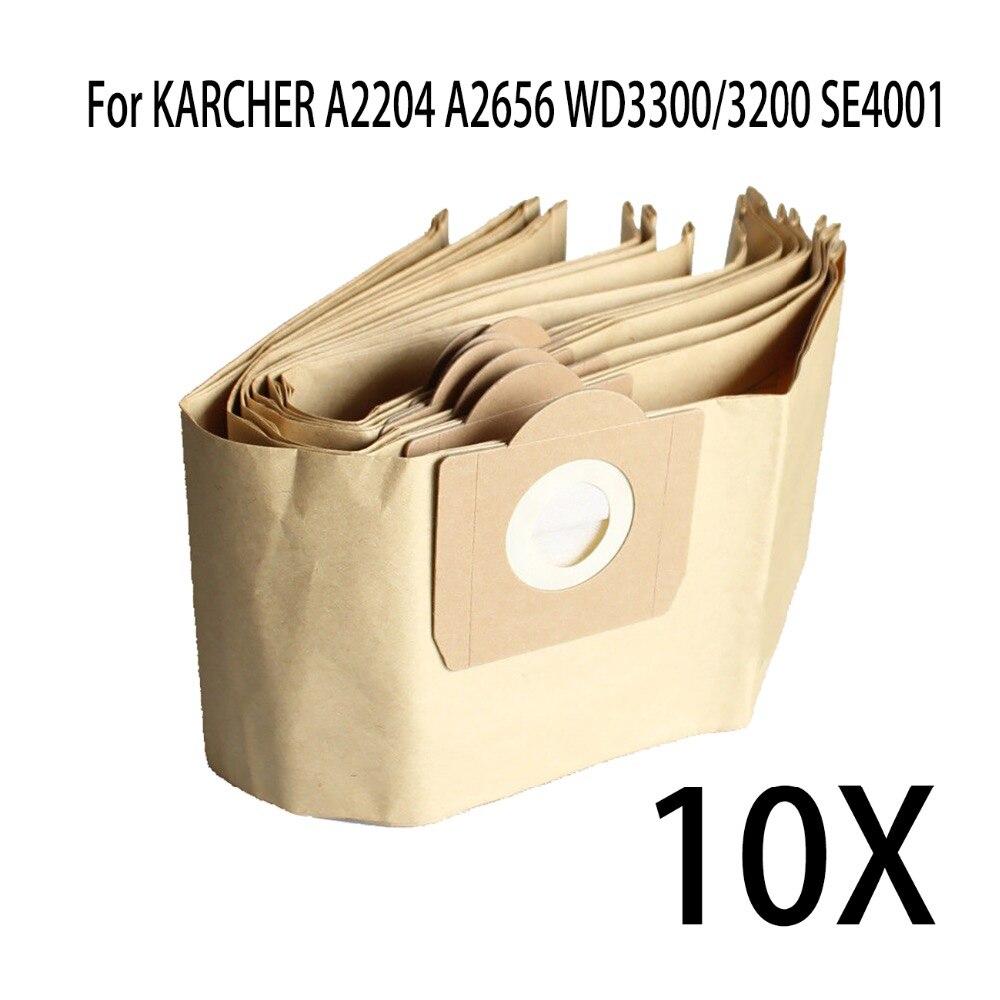 10-PACK Dust bags for KARCHER WD3.200 WD3.300 SE4001 MV3 A2204 WD3200 SE4001 6.904-051 6.959-130 vacuum cleaner paper bags 5pcs vacuum dust filter bag for karcher a2204 a2656 wd3300 wd3200 se4001 dust collection paper bags