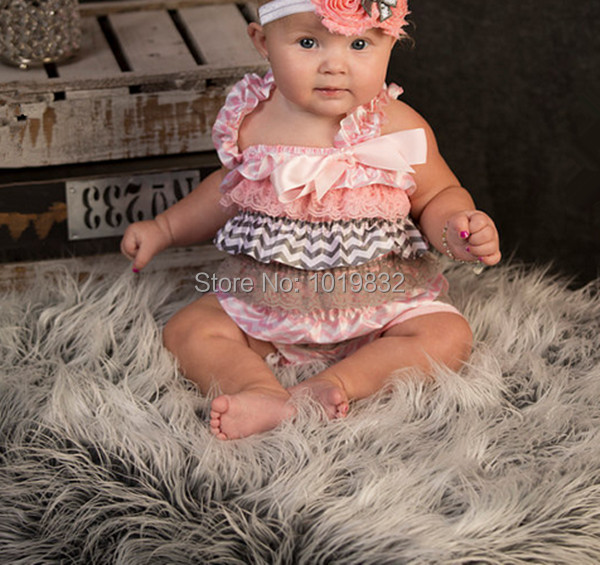 7fab3549c4bd Newborn Petti Rompers Baby Easter Pink   Grey Chevron Ruffle Rompers Baby  First Easter Day Outfit Toddler Clothes
