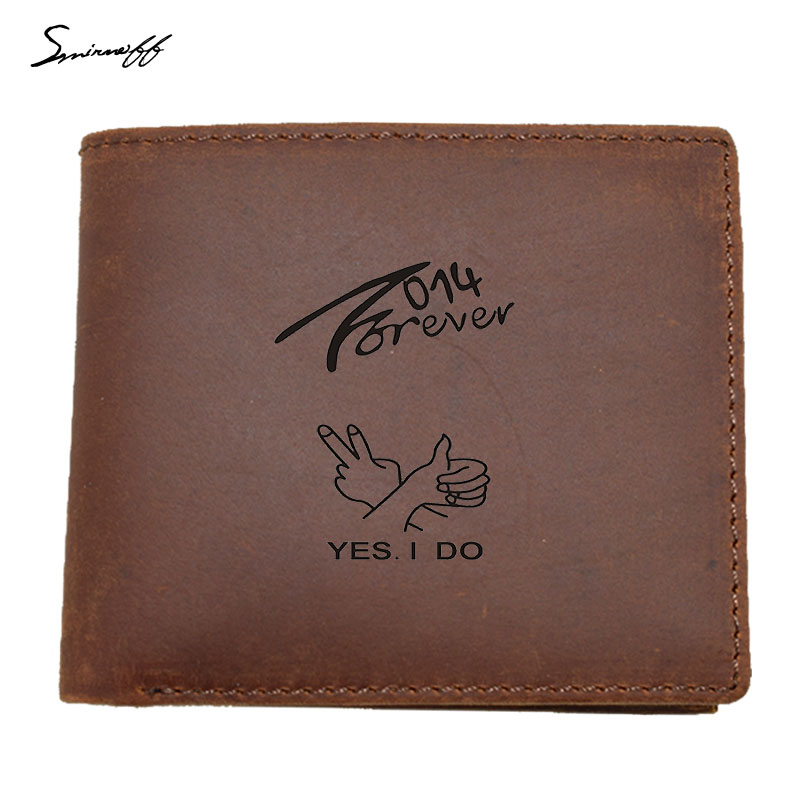 100% RealLeather Men Wallet Male Yes I Do Logo Picture Engraved Laser Men Walet Portomonee Male Short Coin Purse Carteira