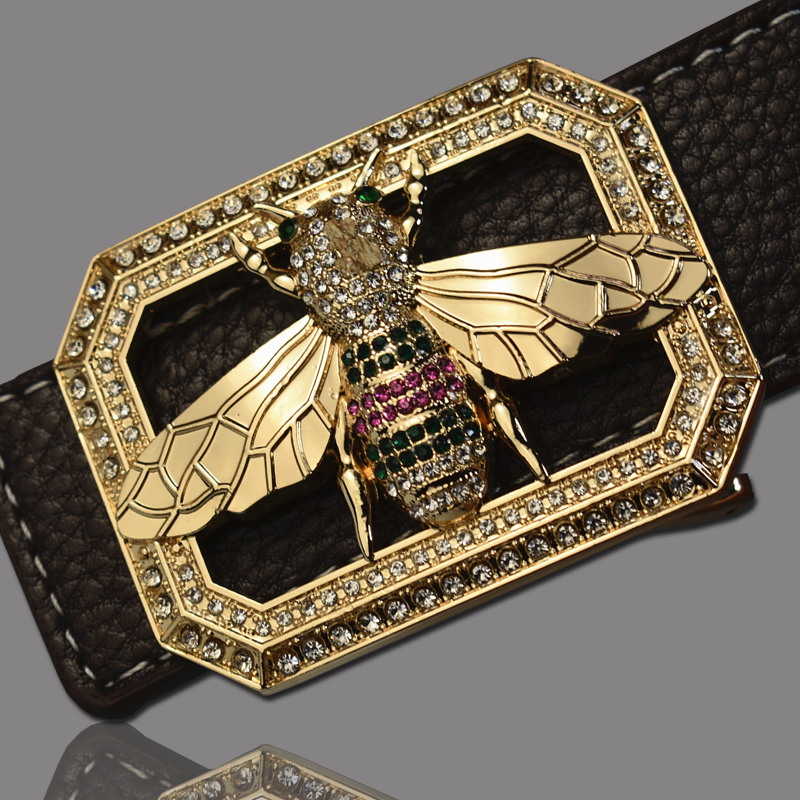 Image 1 - Luxury Brand Belts for Men &Women Unisex Fashion Shiny Bee Design Buckle High Quality Waist Shaper Leather Belts 2019-in Men's Belts from Apparel Accessories on AliExpress