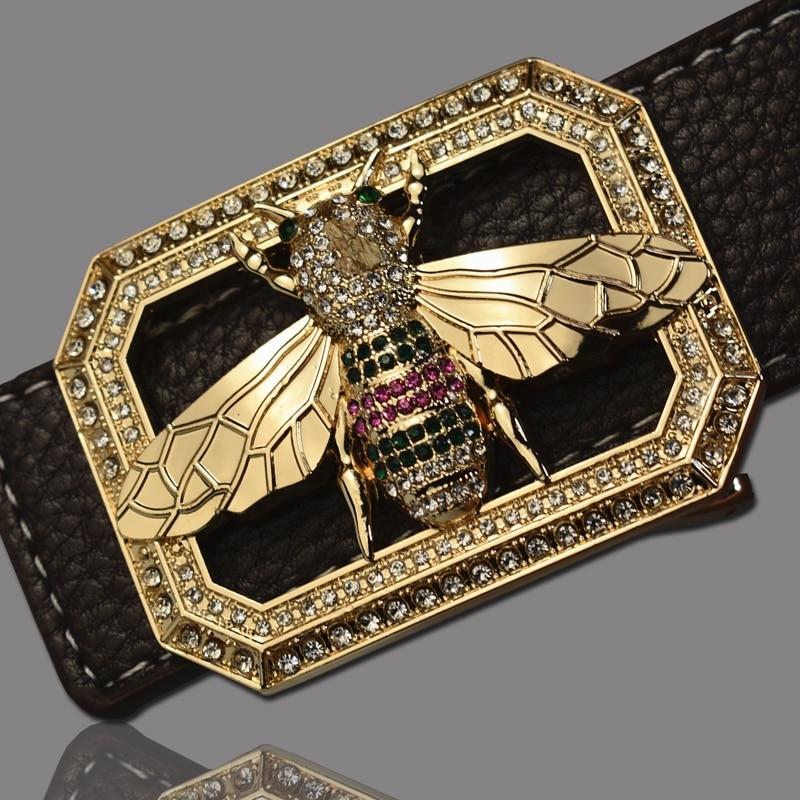 Luxury Brand   Belts   for Men &Women Unisex Fashion Shiny Bee Design Buckle High Quality Waist Shaper Leather Gg   Belts   2019