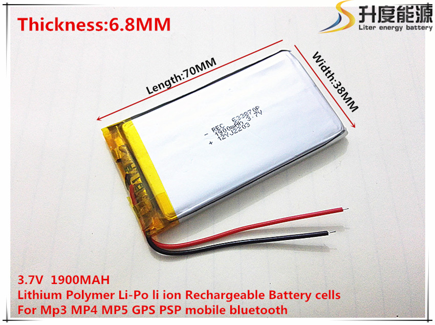 1pcs 3.7v,1900mah,633870 Polymer Lithium Ion Consumer Electronics Li-ion Battery For Toy,power Bank,gps,mp3,mp4,cell Phone,speaker