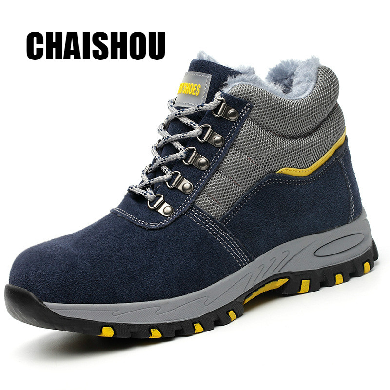 Shoes Men Work Boots Winter Warm Outdoor Steel Toe Cap Anti-smashing Anti-piercing Outdoor Lace-up Cow Suede Safety Shoes CS-256