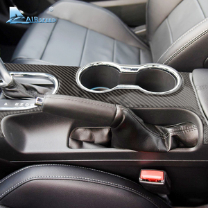 Image 4 - Airspeed Carbon Fiber Car Gearshift Panel dekoracyjne pokrycie Ford Mustang 2015 2017 konsola środkowa akcesoria samochodowe stylizacja samochodu
