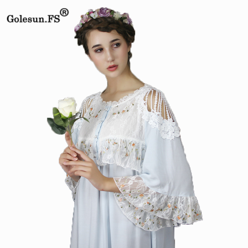 High Quality Autumn Winter Women Elegant Pure Cotton Lace Gown Lady Princess Sexy Floral Sleepwear Nightgowns Retro 8028