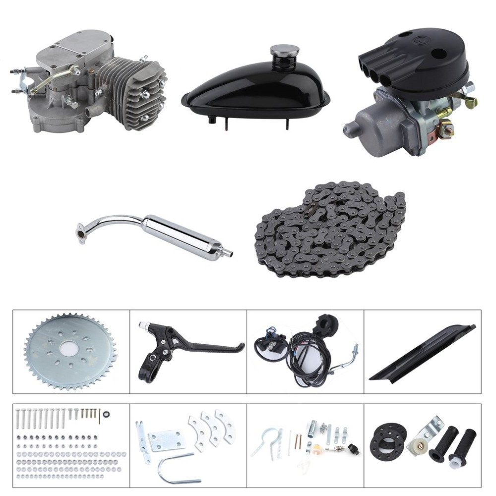 2 Stroke 50cc Bicycle Gas Motorized Engine Bike Motor Kit Cycle Engine Complete Set DIY Bicycle Accessoriess professional tools ship from usa 2 stroke petrol gas bike engine diy bike bicycle motorize engine motor kit 26 or 28