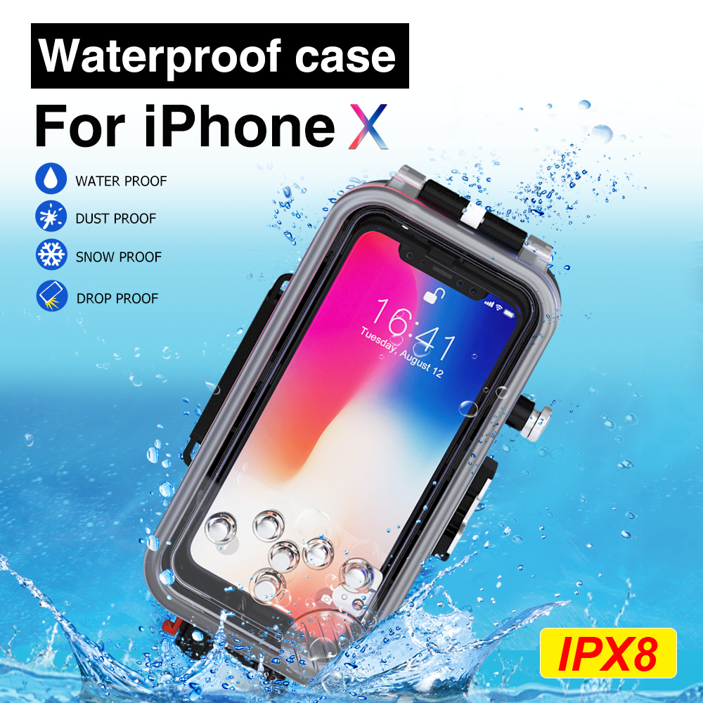 Diving Phone Housing case For iPhone X 60m Professional Waterproof Protective Cover Color Filter Shoot bright Photo Necessary (2)