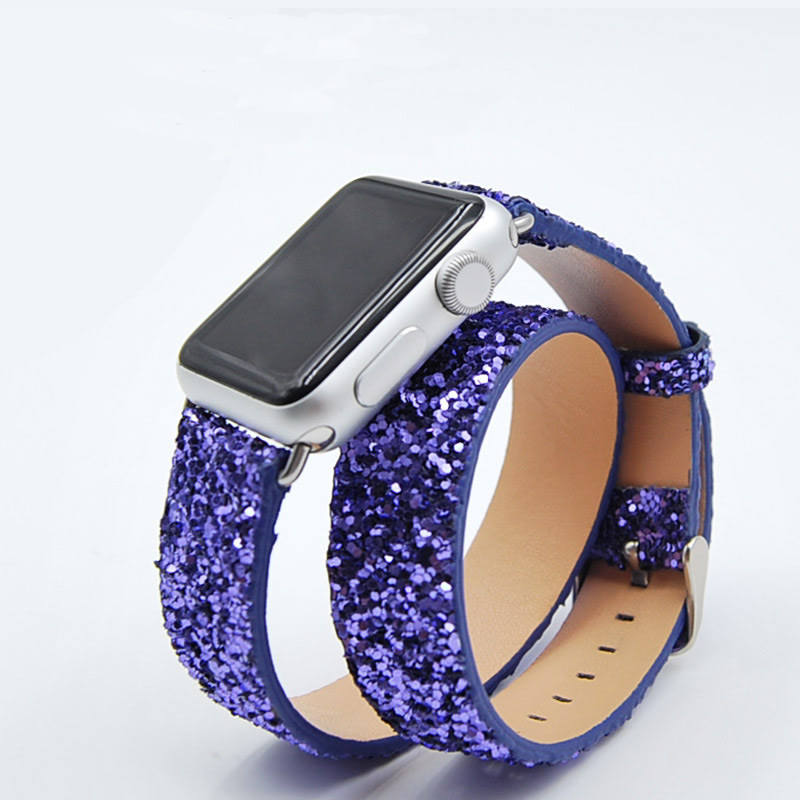 Wrist Bracelet For Apple Watch Series 4 Double Tour Glisten Original Leather Band Strap For Apple Series 1 2 3 Watchband 38-42mm new arrival long genuine apple watch band leather watchband strap double tour bracelet for apple watch 38 42mm