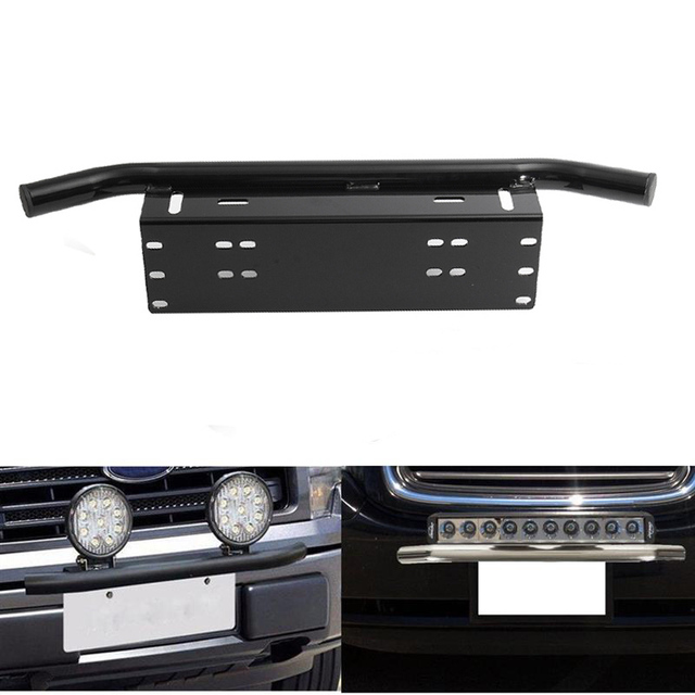 Bull bar front bumper license plate mount bracket holder offroad day bull bar front bumper license plate mount bracket holder offroad day light bar for off aloadofball Image collections