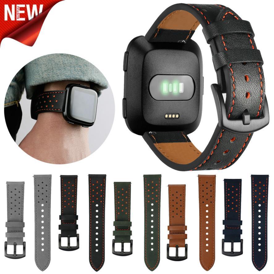 New Luxury Lederband Armbanduhr Band Für Fitbit Versa 5,5-8,1 zoll Dropshipping Armbanduhren Mar 21