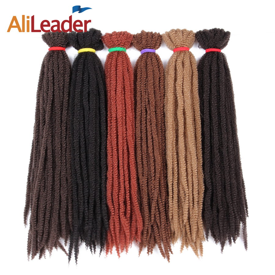 AliLeader 7 Packs Full Head Crochet Marley Braid Hair Extensions 18 Inch 30 Roots Afro Kinky Kanekalon Marley Hair For Braiding