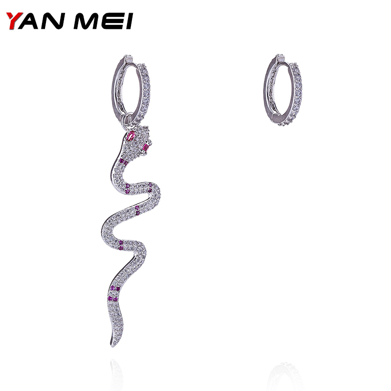 Elegant Rhinestone Snake Study Earrings Ethnic Personality Colorful Boucle D'oreille For Women YME7552L shining rhinestone peacock colorful femininity earrings golden pair
