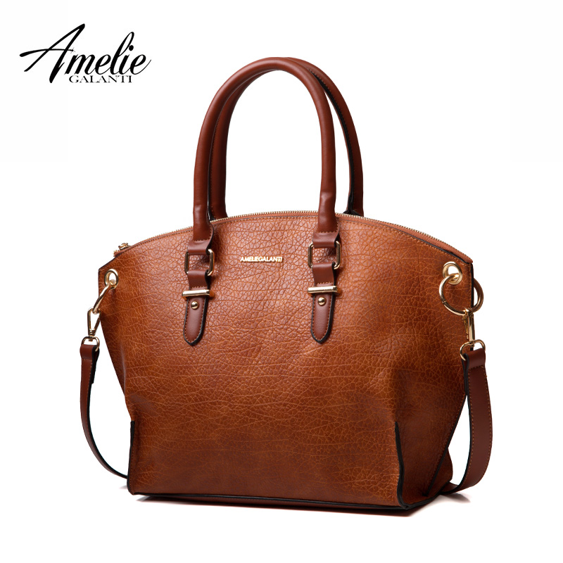 AMELIE GALANTI Women Bag High Qulity top-handle bag PU Famous Brand Crossbody Handbags 4 Colors Solid Zipper Casual Soft amelie galanti brand tote handbag