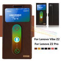 Top Genuine Leather Magnet Window Smart Flip Stand Case For Lenovo Vibe Z2 K920 Mini 5