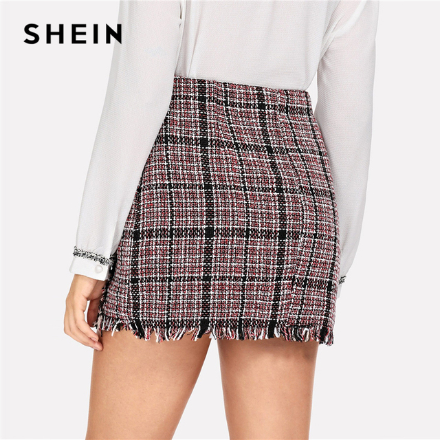 SHEIN Multicolor Office Lady Elegant Frayed Edge Trim Plaid Tweed Mid Waist Skirt 2018 Autumn Highstreet Fashion Women Skirts 2