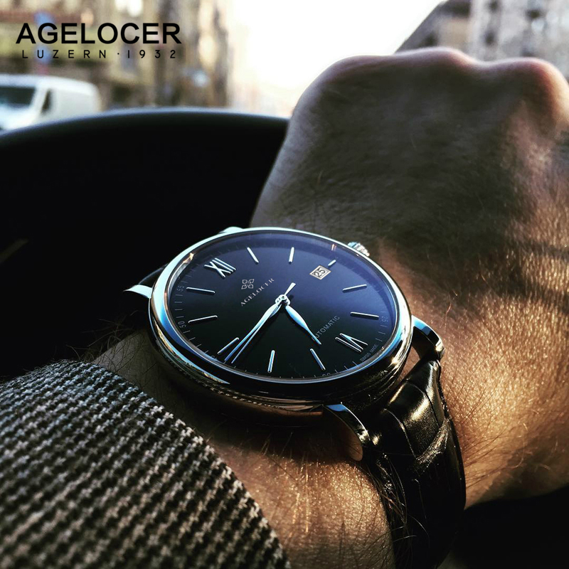 AGELOCER automatic Watches Branded Mens Classic 24cm Leather Strap Self Wind Male Mechanical Watch Fashion Simple