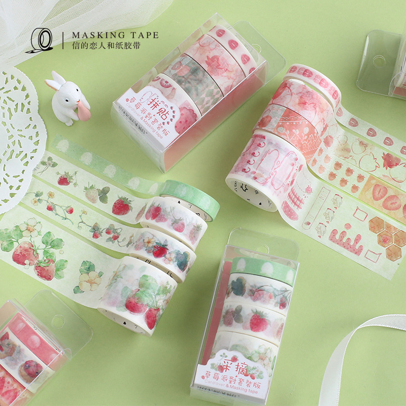 4 Pcs/pack Pick Taste Strawberry Washi Tape Set DIY Scrapbooking Sticker Label Masking Tape School Office Supply