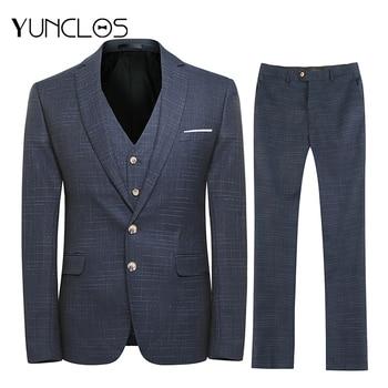 YUNCLOS New Design 3 PCS  Men's Suits Plaid Printed Business Suits Wedding Party Dress Tuexdos Casual Slim Suit for Men