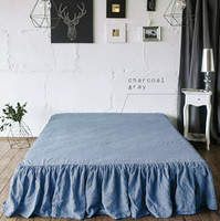 100% Linen Bed Skirt Gray Blue Brown Colors King Queen Size 200x200x45 cm one pieces set on sale