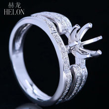 HELON Solid 10K White Gold Women Jewelry 5.5-6.5mm Round Semi Mount Genuine Natural Diamond Engagement Wedding Fine Ring Setting