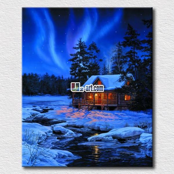 Wall arts aurora winter scenery landscape canvas prints unique gift for friends home wall decoration