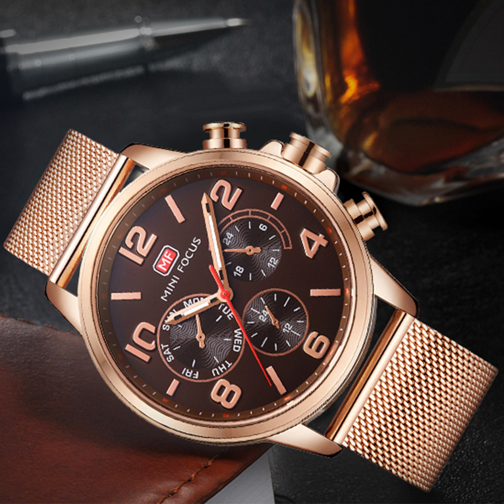 MINIFOCUS MINI FOCUS Luxury Skeleton Men Watch Steel Mesh