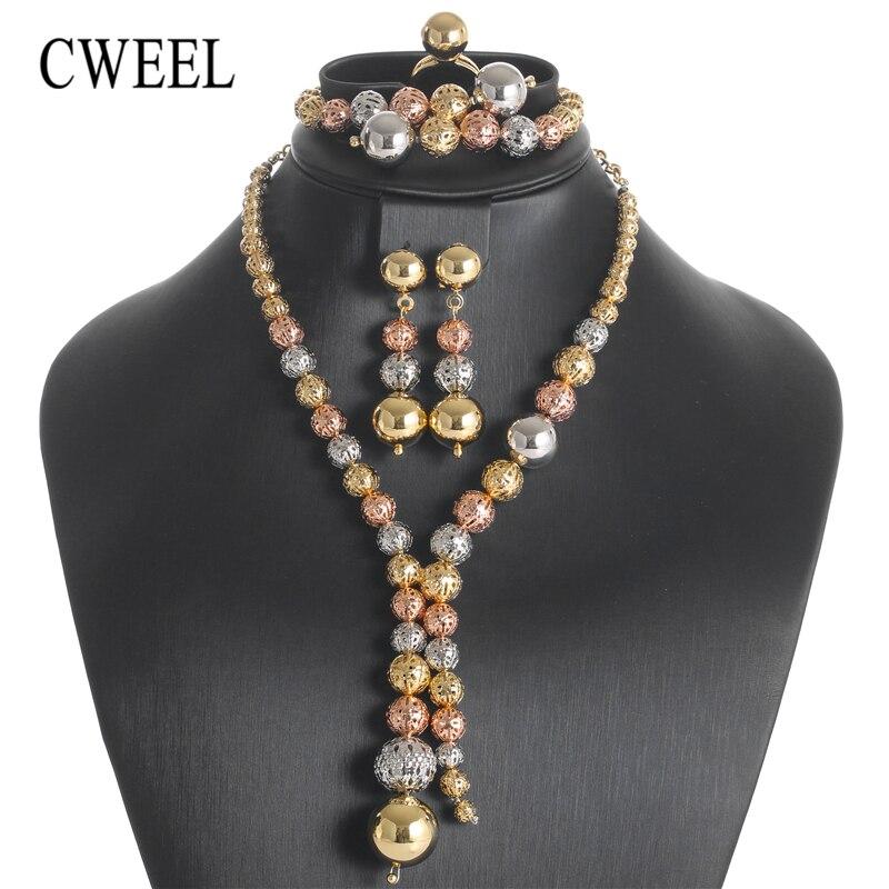 CWEEL Bridal Turkish Jewelry Sets Fashion Luxury African Beads Jewelry Set Classic Copper Women Wedding Dubai Jewelery Sets цена