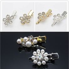 2pcs Hairpins Barrettes Hair Clips Brides Gold Silver Hair Jewelry Crystal Clips Bridal Elegant tiara Pearl Accessories B276-3
