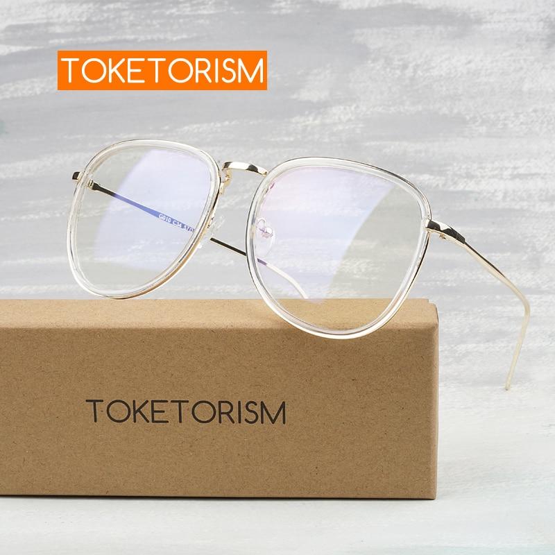 Toketorism TR90 Transparent Glasses Optical Retro Oversize Eye Glasses Frames For Men Women Fashion Clear Glasses Gold Frame 010