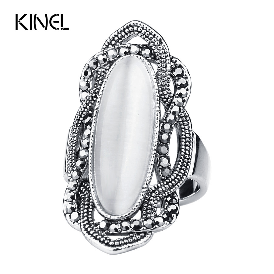 Top Quality Bohemian Style White Opal Ring Big Oval Silver Plated Mosaic AAA Gray Crystal Rings For Women Vintage Jewelry