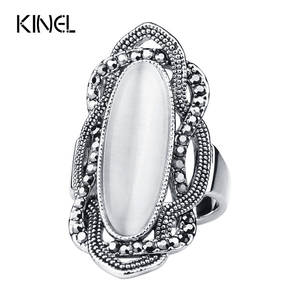 kinel White Big Crystal Rings For Women Vintage Jewelry