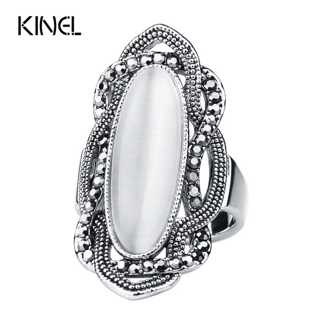 Top Quality Bohemian Style White Opal Ring Big Oval Silver Plated Mosaic AAA Gra