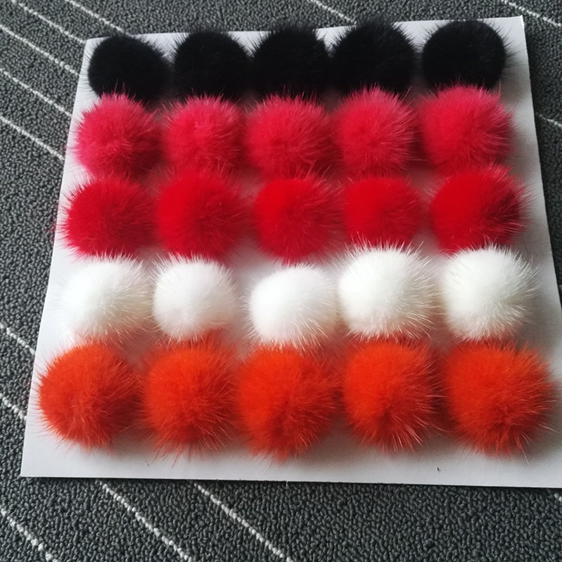 16pcs/lot 6cm Natural Real Mink Fur Ball Pom Poms Fluffy Fur Pompom DIY Women Kids Winter Hat Skullies Beanies Knitted Cap R11