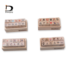 Милый мини 1*1*3 см 12 штук формы деревянные резиновые штампы Скрапбукинг Fotos Декор реквизит для DIY Фотоальбом почерк