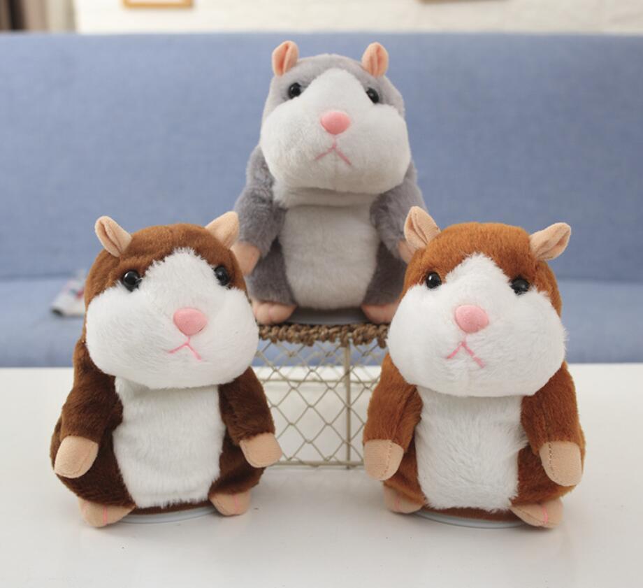 Dropshipping Promotion 15cm Lovely Talking Hamster Speak Talk Sound Record Repeat Stuffed Plush Animal Kawaii Hamster Kid Toys